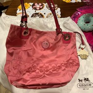 Coach Pink Fabric Bucket Bag with wallet